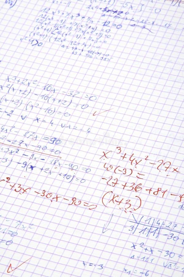 Cálculos escritos mano de la matemáticas imágenes de archivo libres de regalías