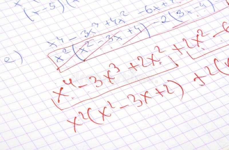 Cálculos escritos mano de la matemáticas imagen de archivo libre de regalías