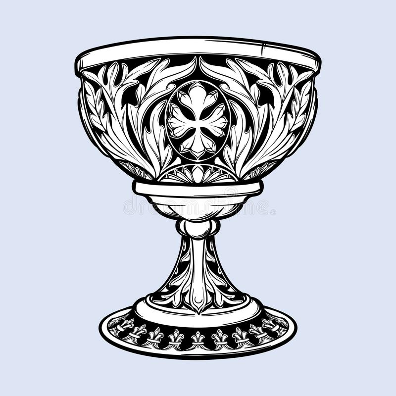 Cálice decorativo Arte gótico medieval do conceito do estilo Elemento do projeto Preto um desenho branco do nd isolado no cinza ilustração royalty free