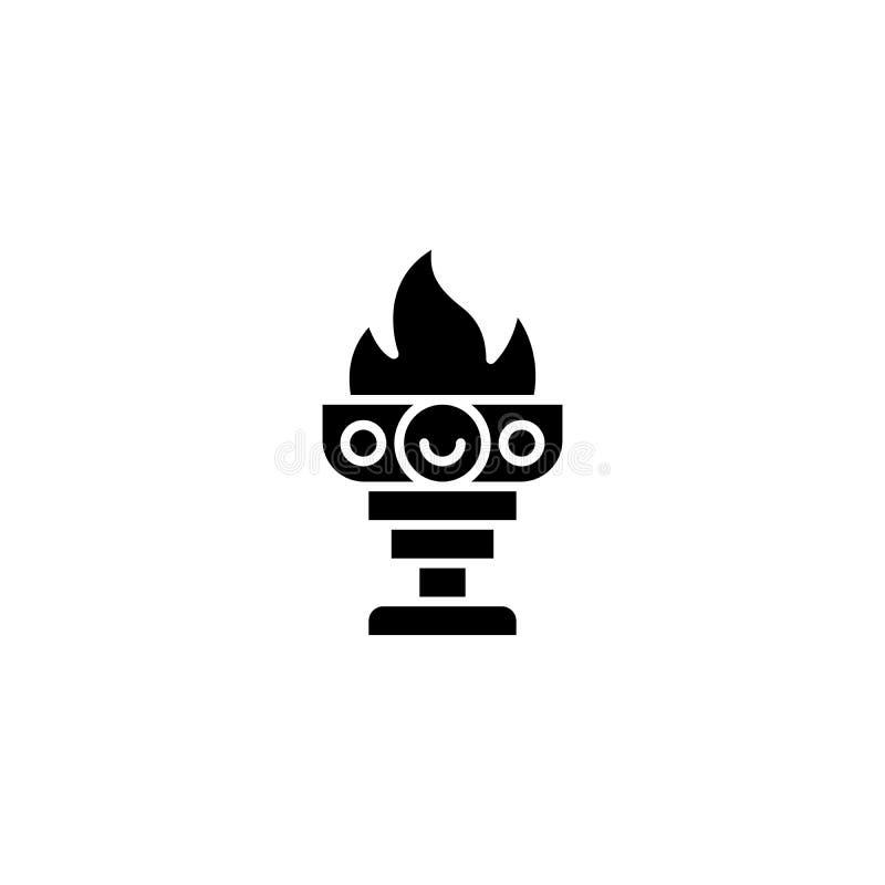 Cálice do conceito do ícone do preto do fogo Cálice do símbolo liso do vetor do fogo, sinal, ilustração ilustração stock