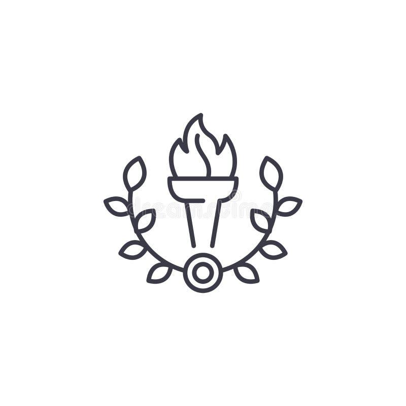 Cálice do conceito linear do ícone do fogo Cálice da linha de fogo sinal do vetor, símbolo, ilustração ilustração stock