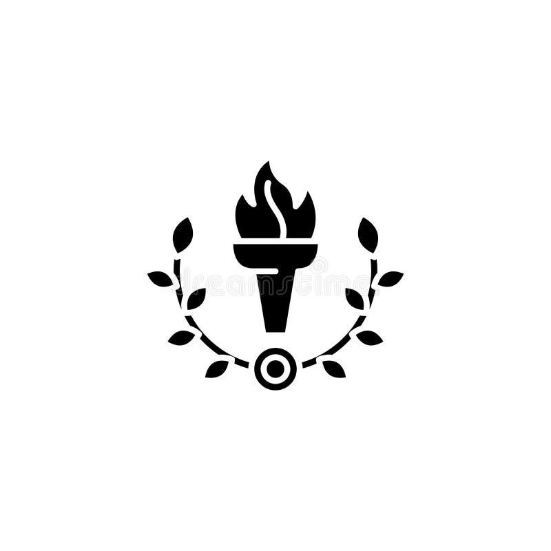 Cálice do fogo, conceito preto do ícone da vitória Cálice do fogo, símbolo liso do vetor da vitória, sinal, ilustração ilustração royalty free