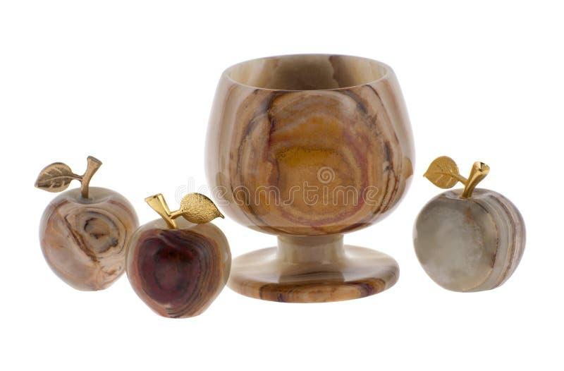 Cálice e maçãs do onyx imagens de stock