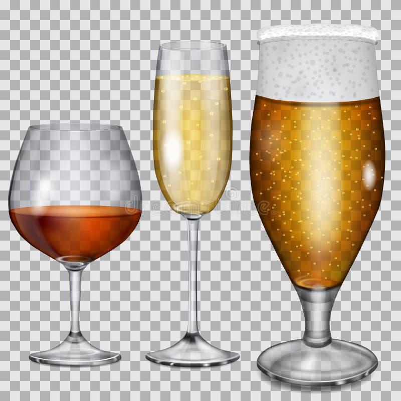 Cálices de vidro transparentes com conhaque, champanhe e cerveja ilustração stock