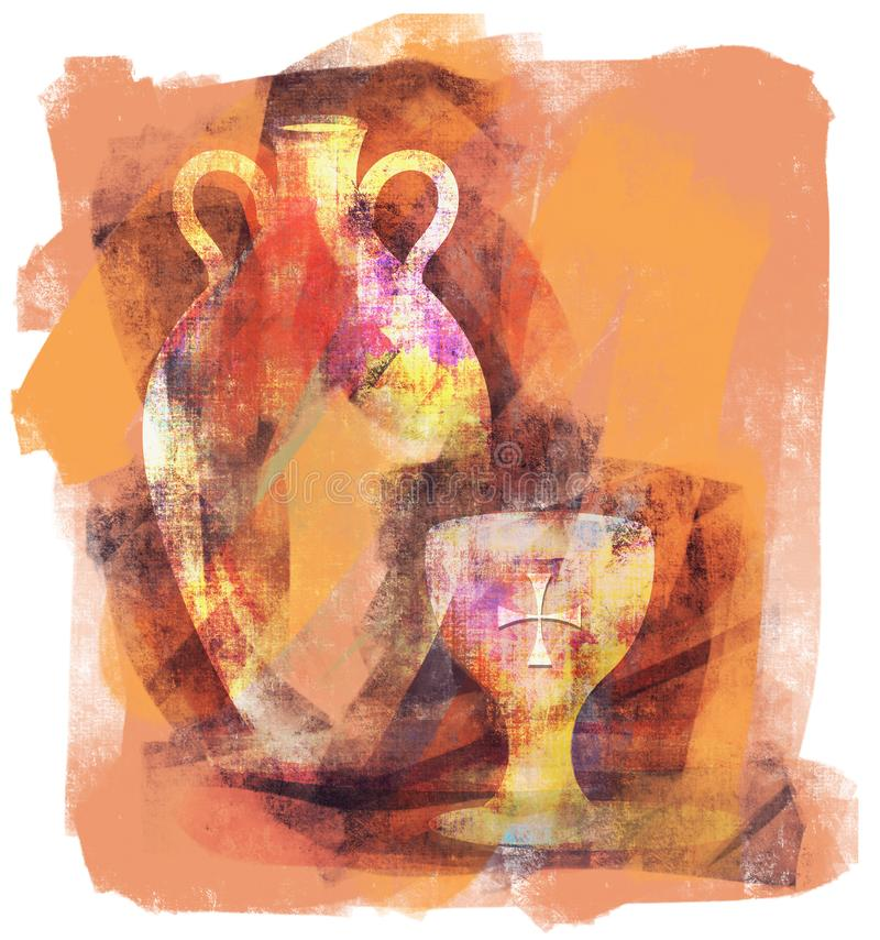Cáliz de la comunión y ejemplo de la ánfora del vino stock de ilustración