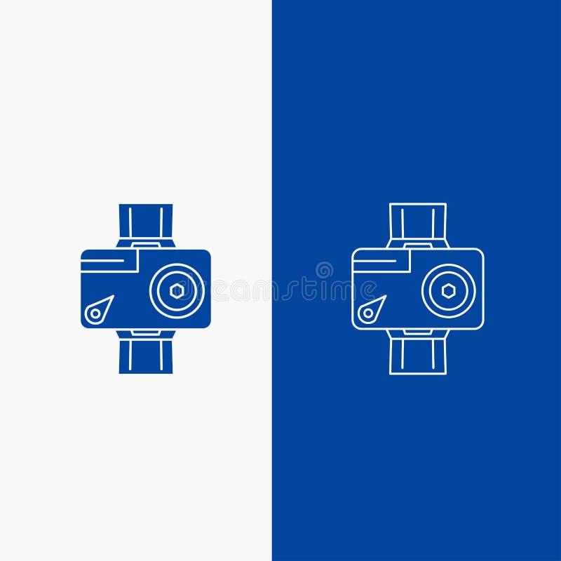 cámara, acción, botón digital, video, de la foto de la línea y del Glyph de la web en la bandera vertical del color azul para UI  libre illustration