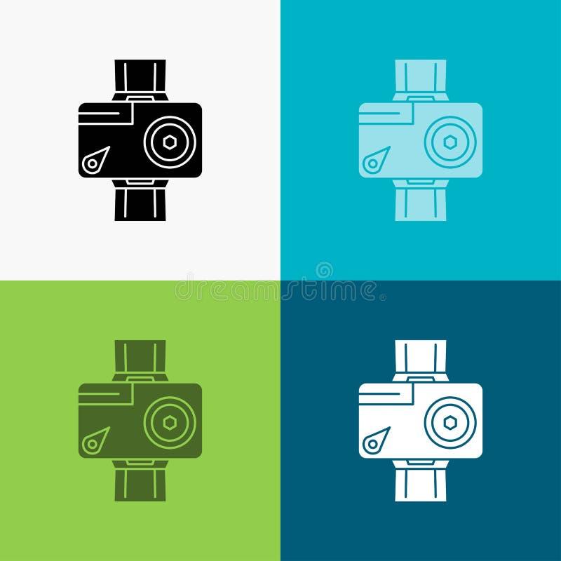 cámara, acción, digital, video, icono de la foto sobre diverso fondo dise?o del estilo del glyph, dise?ado para el web y el app V ilustración del vector