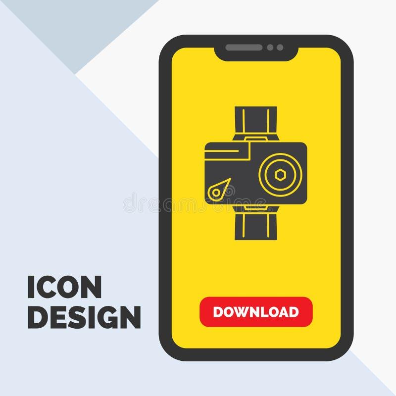 cámara, acción, digital, video, icono del Glyph de la foto en el móvil para la página de la transferencia directa Fondo amarillo libre illustration