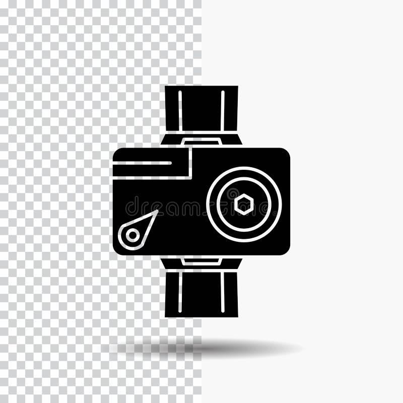 cámara, acción, digital, video, icono del Glyph de la foto en fondo transparente Icono negro ilustración del vector