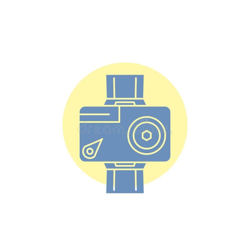 cámara, acción, digital, video, icono del Glyph de la foto libre illustration