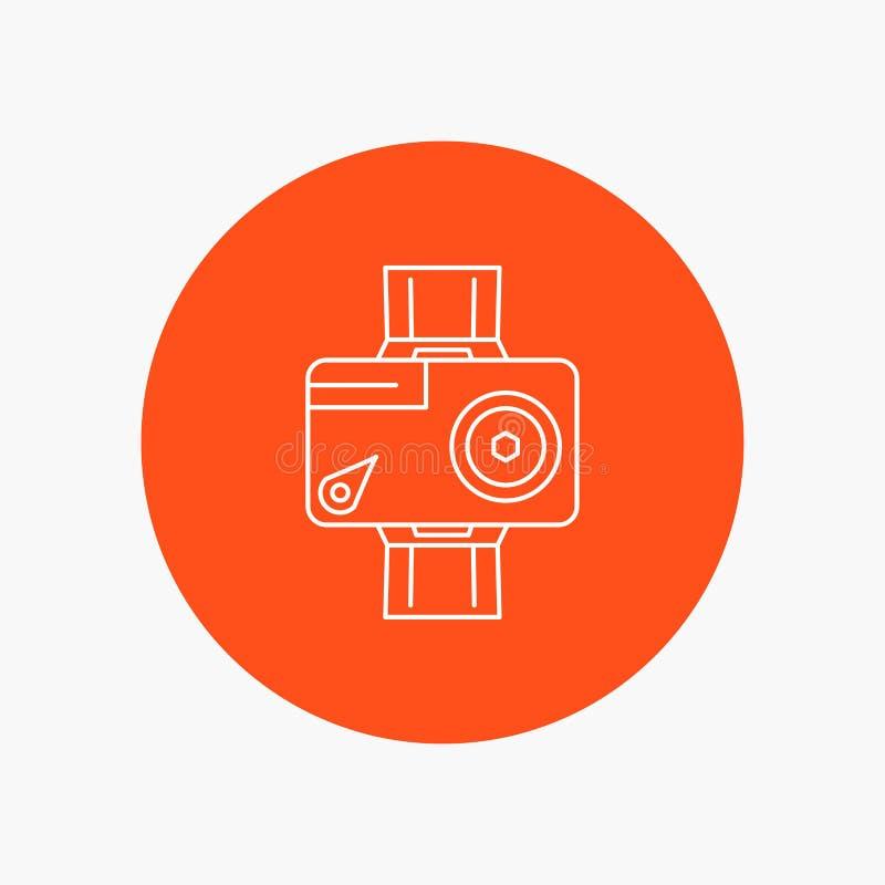 cámara, acción, digital, video, línea blanca icono de la foto en fondo del círculo Ejemplo del icono del vector ilustración del vector