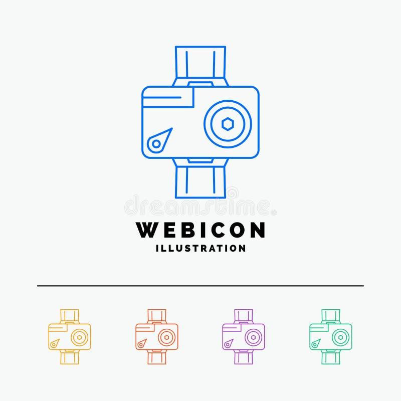 cámara, acción, digital, video, línea de color de la foto 5 plantilla del icono de la web aislada en blanco Ilustraci?n del vecto libre illustration