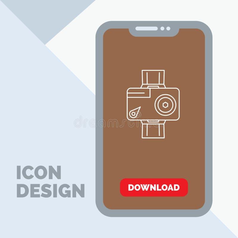 cámara, acción, digital, video, línea icono de la foto en el móvil para la página de la transferencia directa stock de ilustración