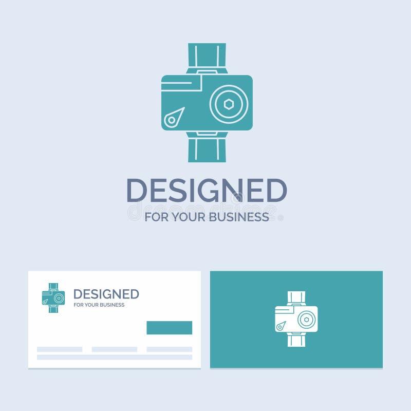 cámara, acción, digital, video, negocio Logo Glyph Icon Symbol de la foto para su negocio Tarjetas de visita de la turquesa con e stock de ilustración