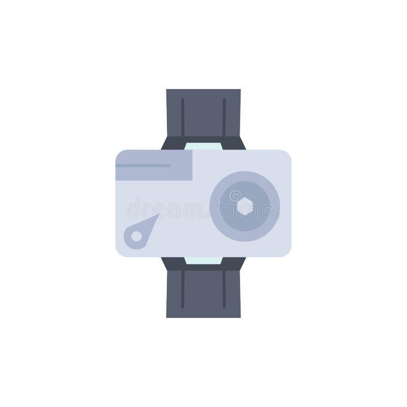 cámara, acción, digital, video, vector plano del icono del color de la foto stock de ilustración