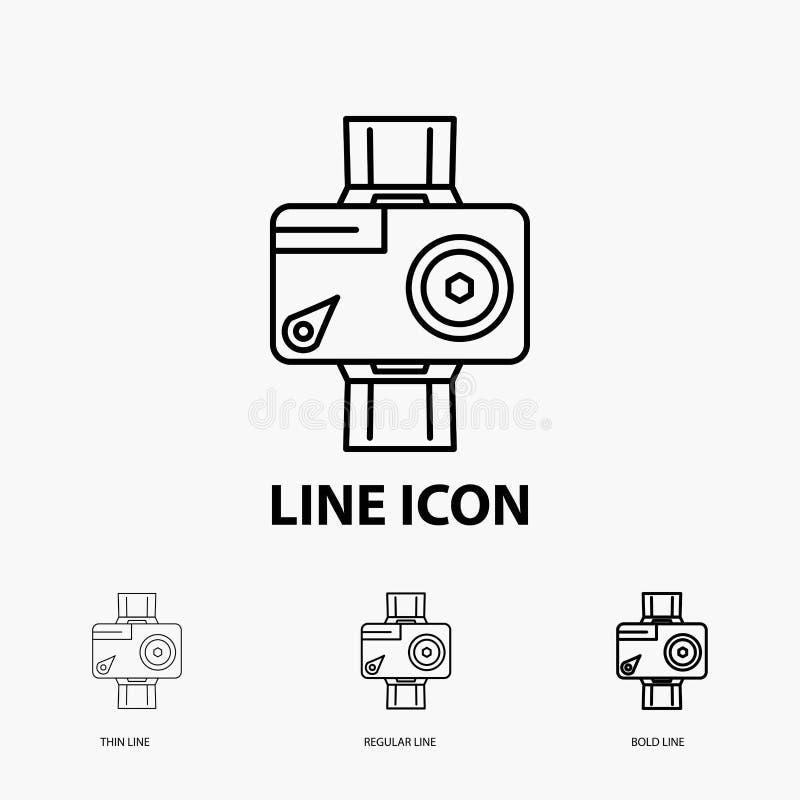 cámara, acción, icono digital, video, de la foto en la línea estilo fina, regular e intrépida Ilustraci?n del vector ilustración del vector