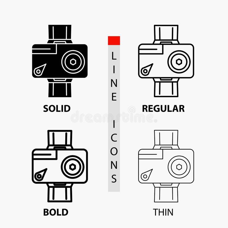 cámara, acción, icono digital, video, de la foto en línea y estilo finos, regulares, intrépidos del Glyph Ilustraci?n del vector libre illustration