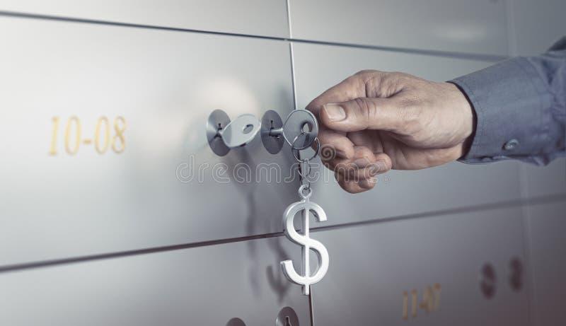Cámara acorazada de banco, caja de depósito seguro stock de ilustración