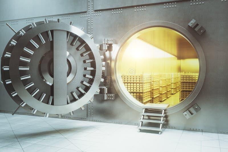 Cámara acorazada de banco con las pilas del oro libre illustration