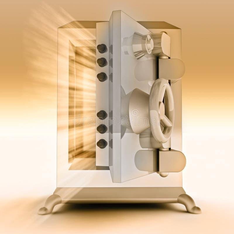 Cámara acorazada de batería abierta reforzada del metal del oro libre illustration