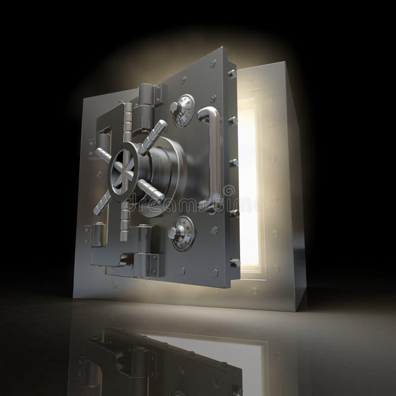 Cámara acorazada de la apertura y luz del volumen. 3d ilustración del vector
