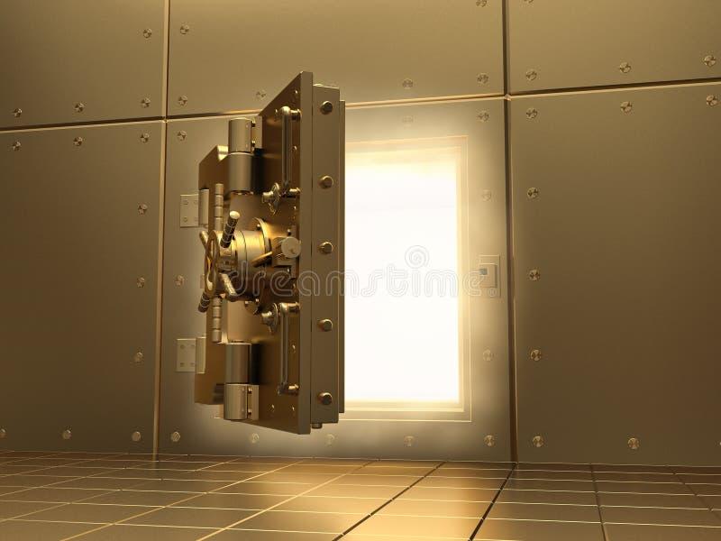 Cámara acorazada de la apertura y luz del volumen. 3d. libre illustration