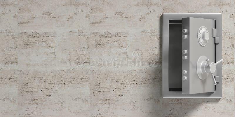 Cámara acorazada de la seguridad aislada con el espacio de la puerta abierta y de la copia en un fondo de mármol de la pared ilus stock de ilustración