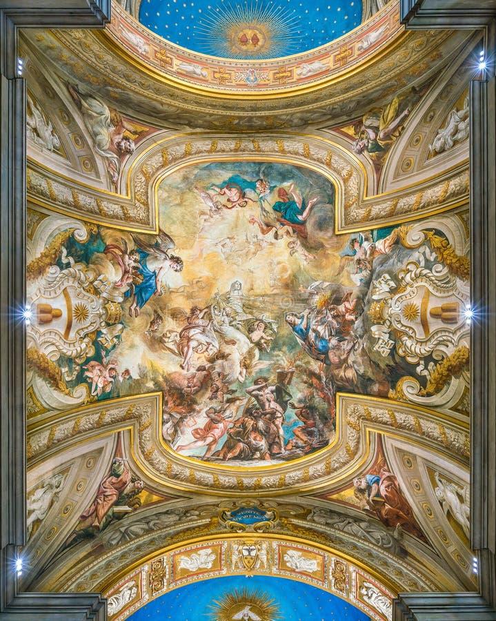 Cámara acorazada Frescoed con 'la gloria de St Bridget 'por Biagio Puccini, en la iglesia de Santa Brigida, en Roma, Italia fotos de archivo