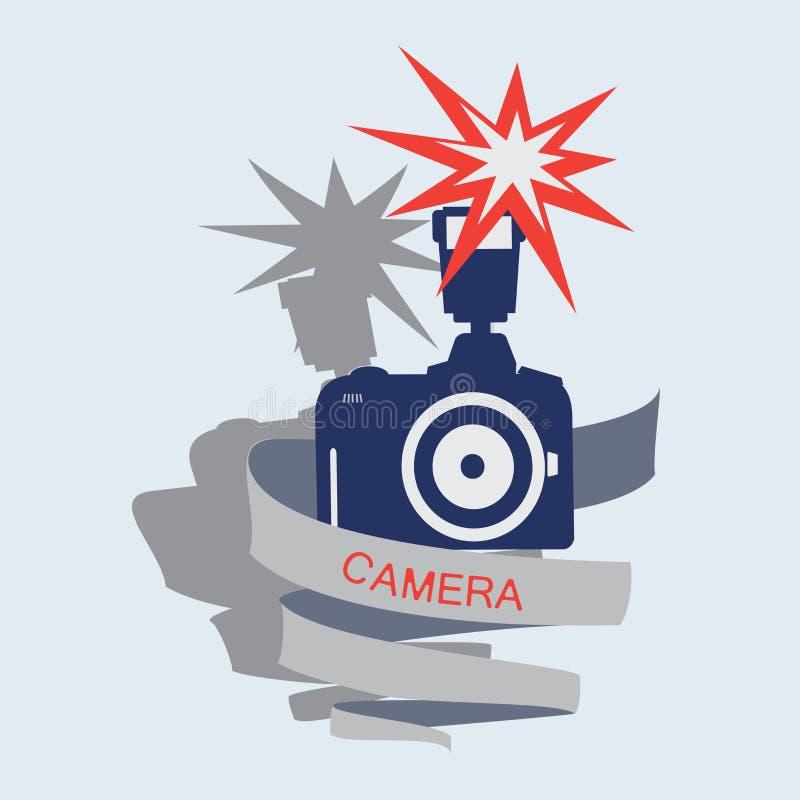 Cámara con el flash y la cinta stock de ilustración