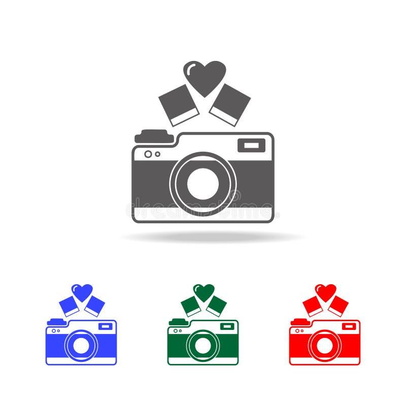 cámara con el icono del corazón Elementos de la tarjeta del día de San Valentín \ del 'día de s en iconos coloreados multi Icono  libre illustration