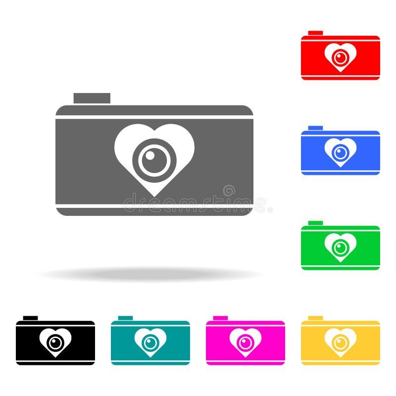 cámara con el icono del corazón Elementos del romance en iconos coloreados multi Icono superior del diseño gráfico de la calidad  stock de ilustración
