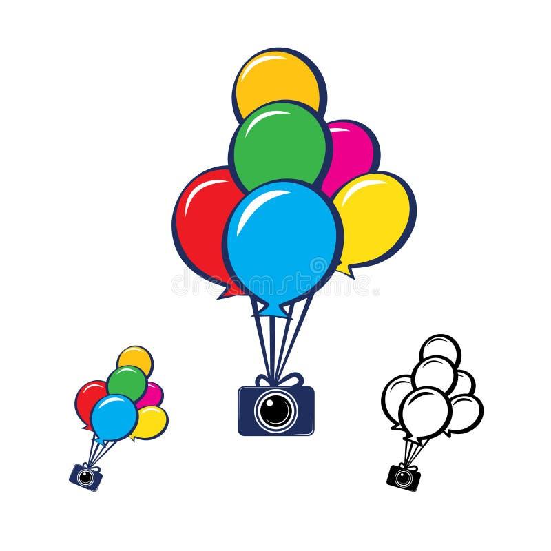 Cámara con las porciones de globos coloridos ilustración del vector