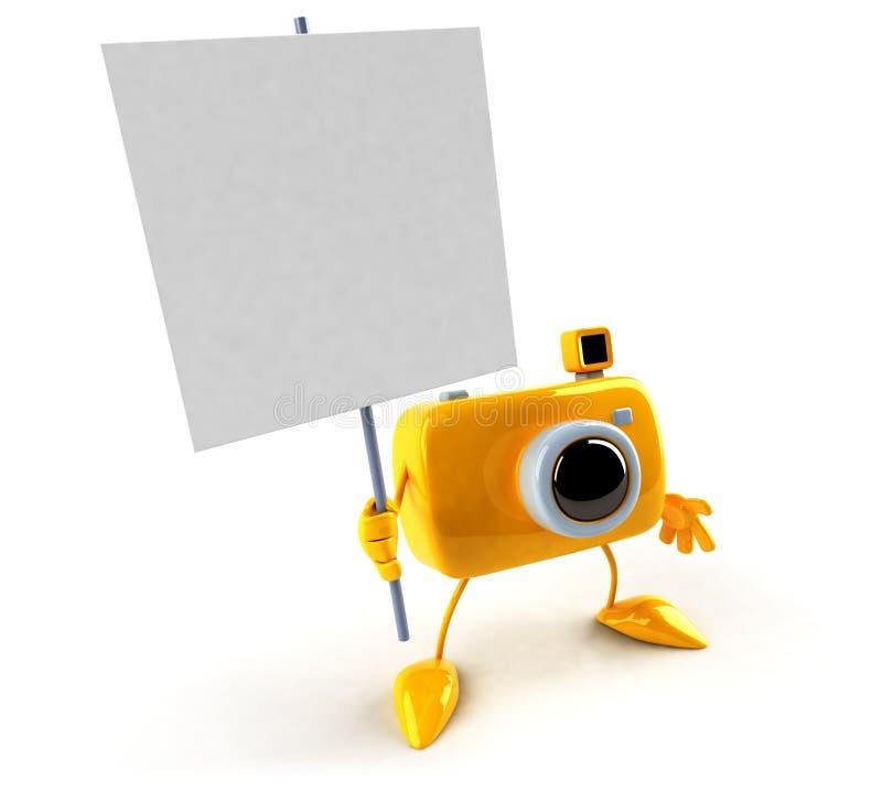 Cámara con una muestra ilustración del vector