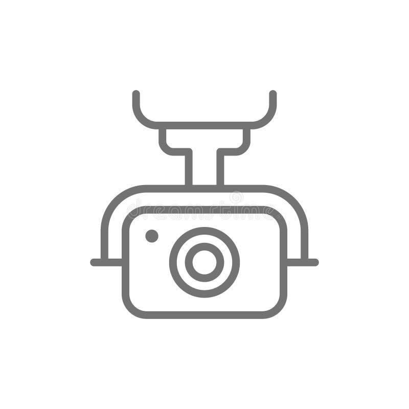 Cámara de la acción para el abejón, línea video extrema icono de la leva ilustración del vector