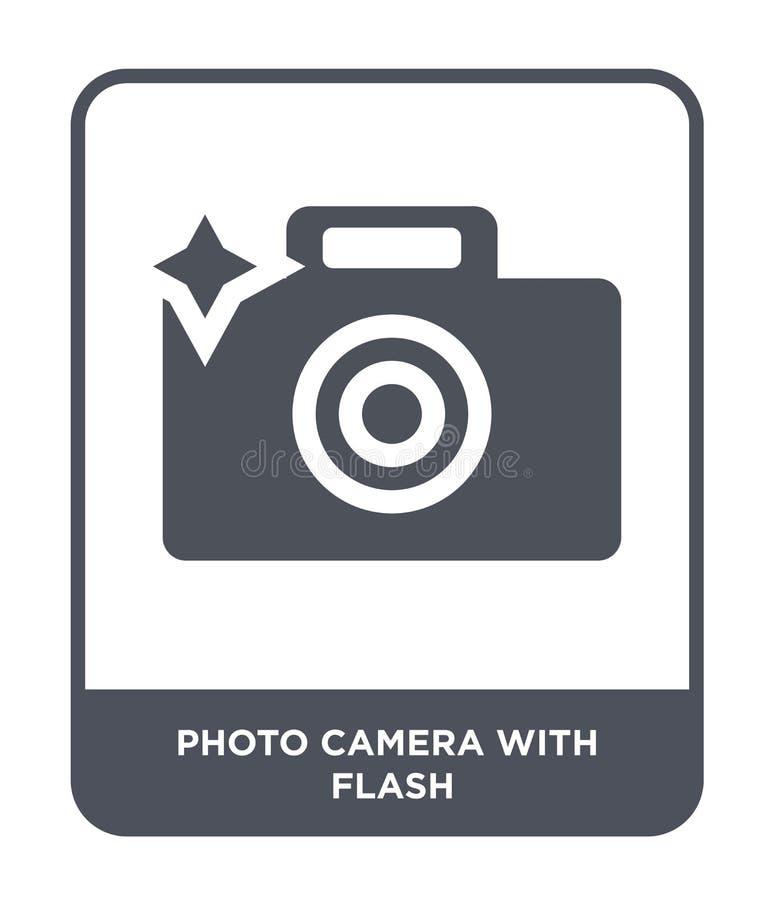 cámara de la foto con el icono de destello en estilo de moda del diseño cámara de la foto con el icono de destello aislado en el  libre illustration