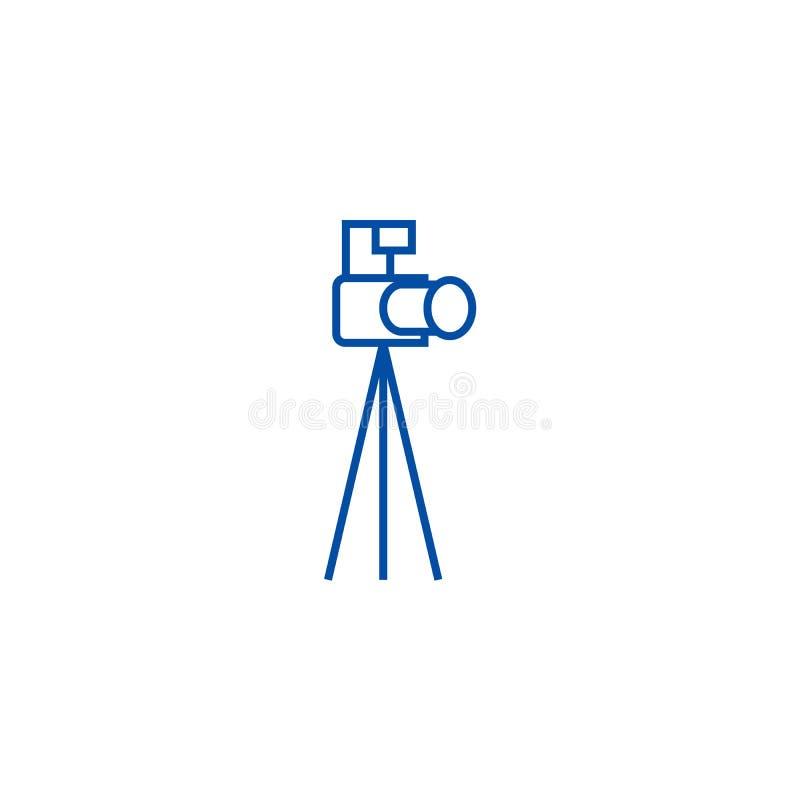 Cámara de la foto con la línea concepto del trípode del icono Cámara de la foto con el símbolo plano del vector del trípode, mues ilustración del vector