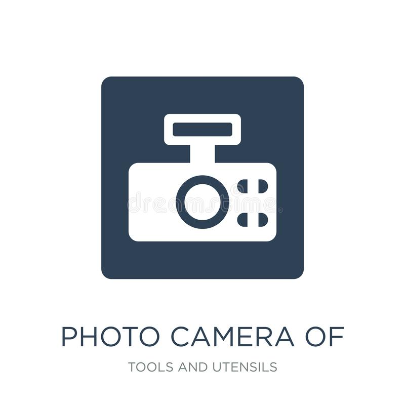 cámara de la foto del icono cuadrado redondeado de la forma en estilo de moda del diseño cámara de la foto del icono cuadrado red stock de ilustración