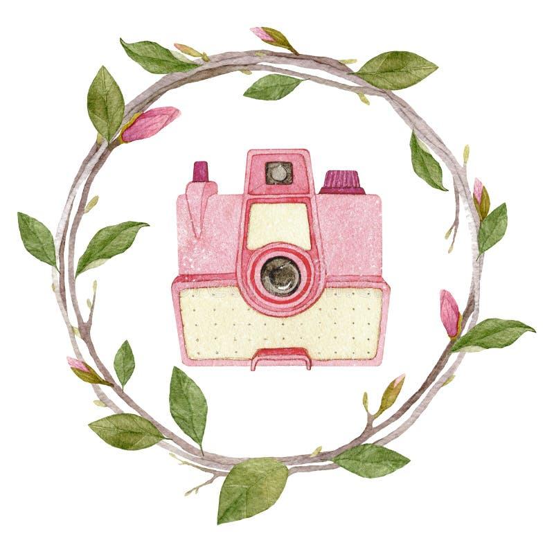 Cámara de la foto del vintage de la acuarela en la guirnalda de la magnolia aislada en el fondo blanco libre illustration