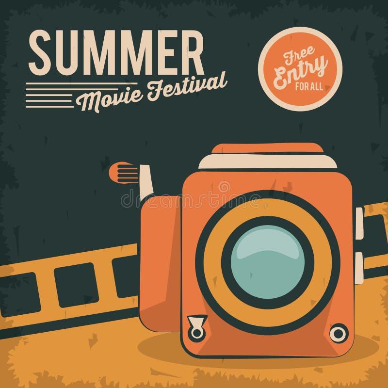 Cámara de la película del festival de la película del verano de la tarjeta del vintage retra libre illustration