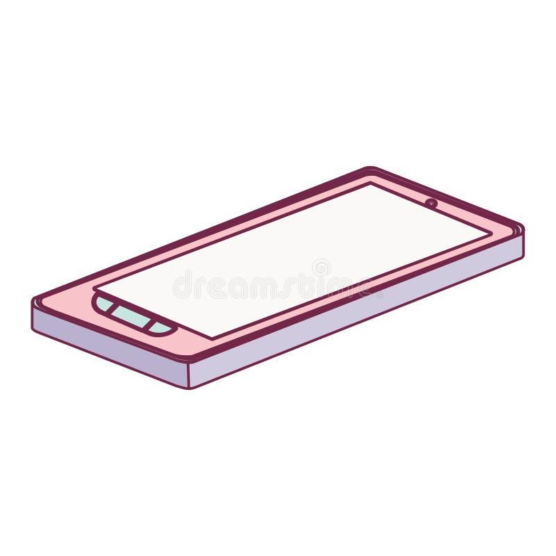 Cámara de la tableta de tacto de la tecnología con los botones que mienten abajo minimalist stock de ilustración