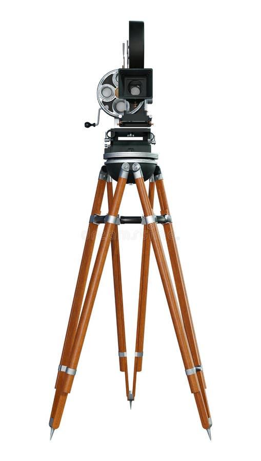 cámara de película del cineasta de la representación 3D en blanco stock de ilustración