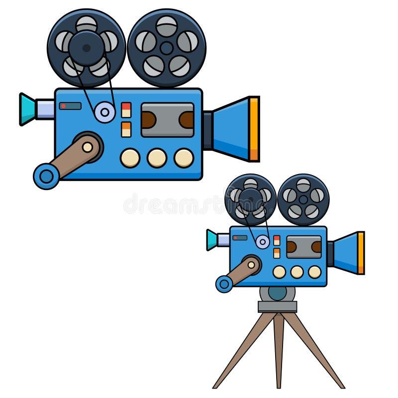 Cámara de película del vintage en estilo plano aislada en el fondo blanco Diseñe el elemento para el cartel, tarjeta, bandera, av ilustración del vector