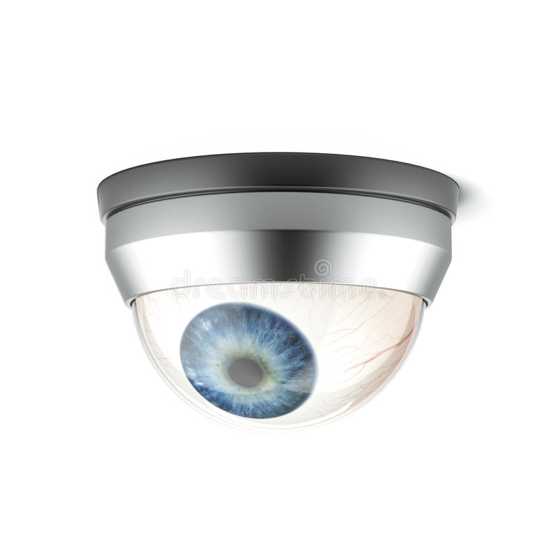 Cámara de seguridad con el ojo azul stock de ilustración