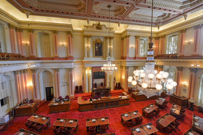 Cámara de senado de California fotografía de archivo