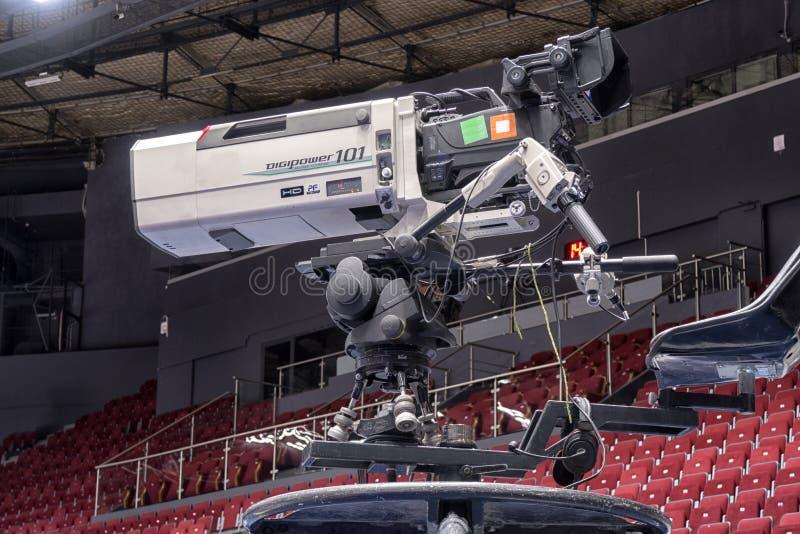 Cámara de televisión del primer en las competencias de deportes, difusión de TV fotos de archivo libres de regalías