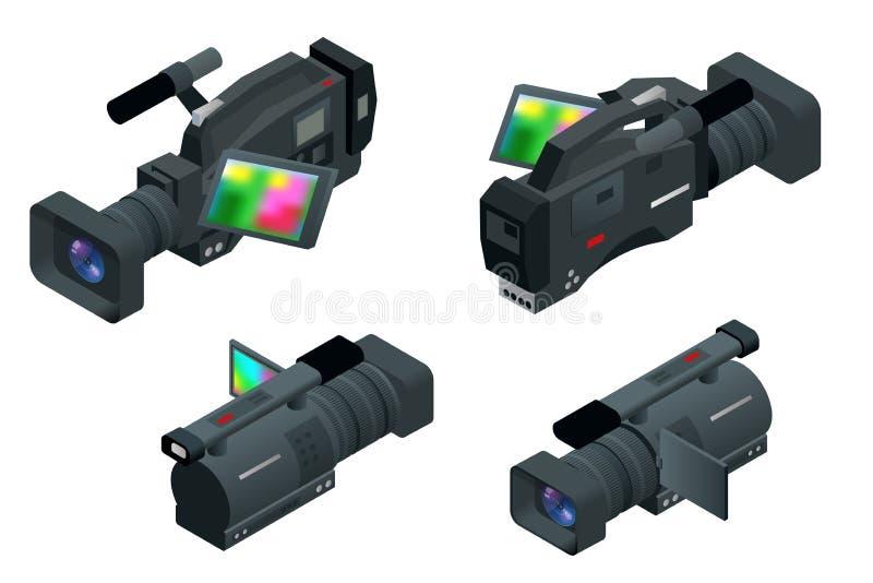 Cámara de vídeo digital profesional Ejemplo isométrico plano 3d para el infographics y el diseño Videocámaras y equipo stock de ilustración