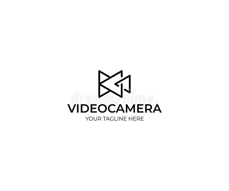 Cámara de vídeo Logo Template del triángulo Diseño del vector de la videocámara stock de ilustración
