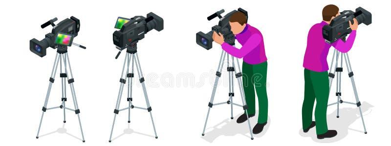 Cámara de vídeo y cameraman digitales profesionales Ejemplo isométrico plano 3d para el infographics y el diseño camcorders ilustración del vector