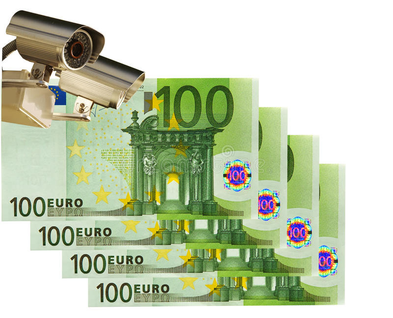 Cámara de vídeo y euro 100. Asunto y control imágenes de archivo libres de regalías