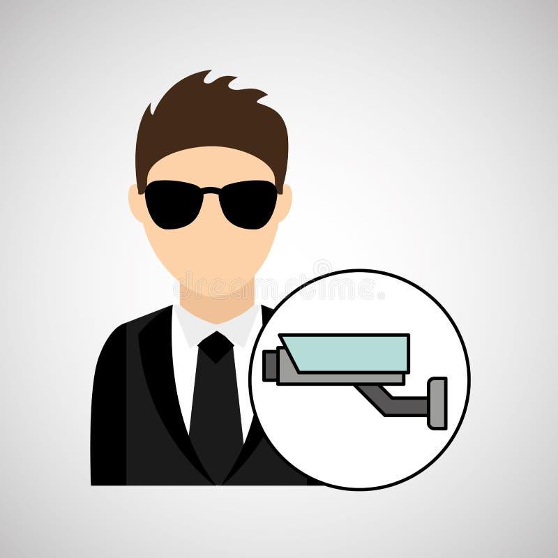 Cámara de vigilancia de la seguridad de la tecnología digital de la historieta del hombre ilustración del vector